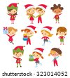 cute children at the christmas style - stock vector