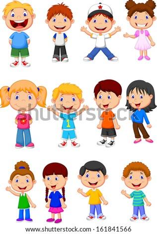 Cute children cartoon collection - stock vector