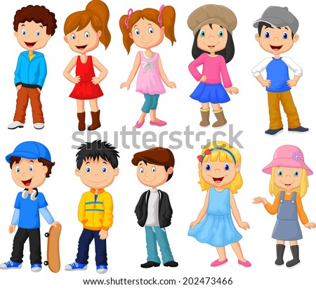 Cute children cartoon collection - stock vector