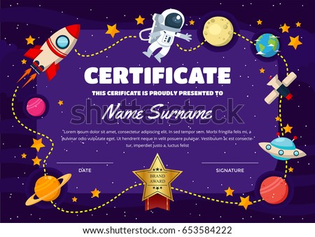 Cute Children Certificate Achievement Appreciation Template – Certificate of Achievement for Kids