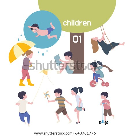 cute children characters vector illustration. flat design