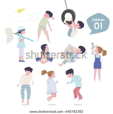 cute children characters. vector illustration. flat design