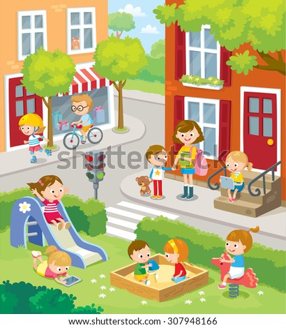 cute children in the town - stock vector