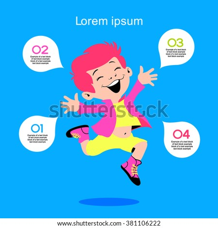 Cute children labels. stylish children in motion with speech bubble. The file is saved in the version 10 EPS.  - stock vector