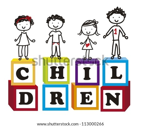 cute children over cute blocks over white background. vector - stock vector