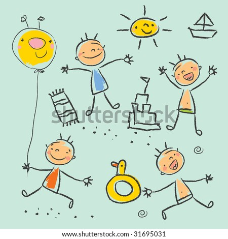 Cute children playing on the beach isolated. Kids drawing style vector illustration - stock vector