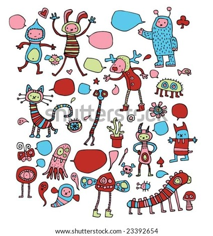 Cute children's drawings. Click on my name below to see a huge collection of doodles. 