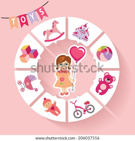Cute children toys infographic with simple flat icons for baby girl.Cartoon little girl with a balloon .Vector circle business concepts for report or plan,education template,business brochure,diagram - stock vector