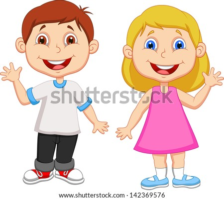 Cute children waving hand - stock vector
