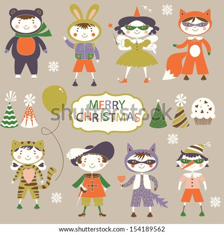 Cute childrens in carnival costumes - stock vector