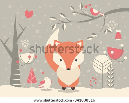 Cute Christmas baby fox surrounded with floral decoration, vector illustration - stock vector