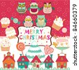 cute Christmas background - stock vector