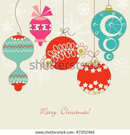 Cute Christmas balls - stock vector