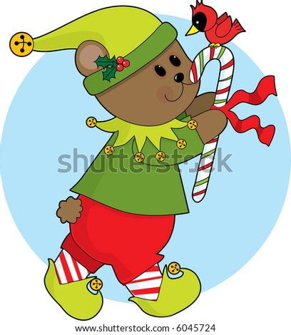 Cute Christmas bear carrying a candy cane with a cardinal sitting on it
