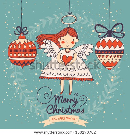 Cute Christmas card in vector. Bright holiday background with small funny angel in New Year toys in cartoon style - stock vector