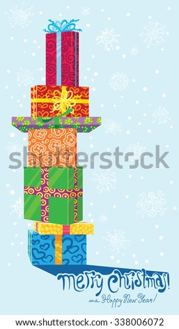 Cute Christmas card with gifts - stock vector