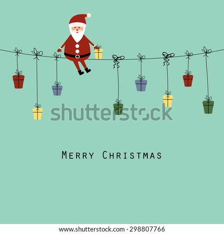 Cute christmas card with Santa and gifts - stock vector