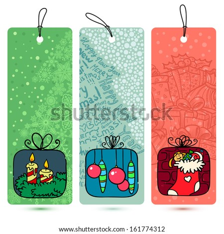 Cute Christmas doodle tags set