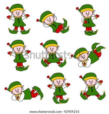 Cute Christmas Elf Set - stock vector