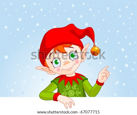 Cute Christmas Elf with a place card or invite - stock vector