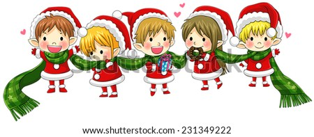 Cute Christmas elves tie together with a long scarf in a concept of greeting and happiness, create by vector  - stock vector