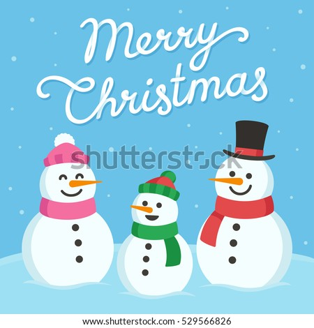 Cute Christmas greeting card. Cartoon snowman family (mom, dad and child) with text Merry Christmas.