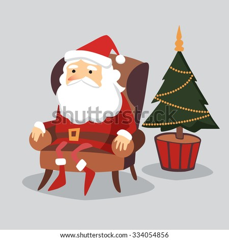 Cute  christmas greeting card with Santa Claus sitting in armchair and christmas tree, flat design, vector illustration background - stock vector