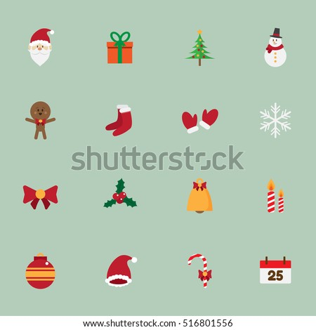 cute christmas icons set. vector illustration.
