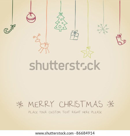 cute Christmas invitation card - stock vector