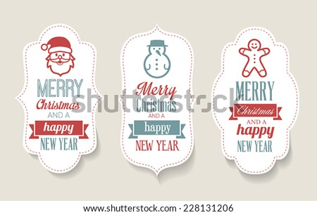 Cute Christmas labels - decorations for web or print. - stock vector