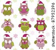 cute Christmas owls - stock vector