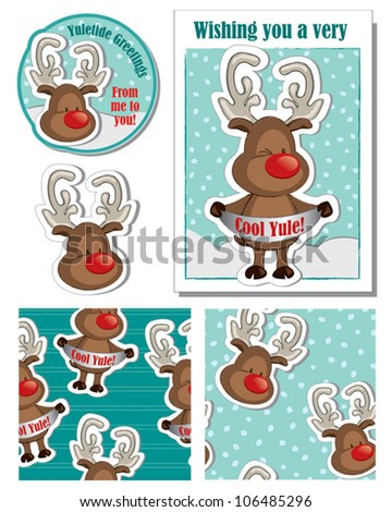 Cute Christmas Reindeer Vector Greeting Card and Elements.  Use this unique design to bring a smile to someone dear. - stock vector
