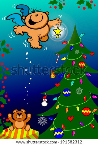 Cute Christmas scene with a gift, baubles, a teddy bear and full of lights and ornaments where a nice angel's bringing a shiny star to put on top of the tree and give the final touch to the decoration - stock vector