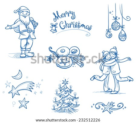 Cute christmas scenes and Icons, santa clause, chrsitmas tree, stars, people huging, cookies, chrsitmas tree balls, ornament. Hand drawn line art vector illustration. - stock vector