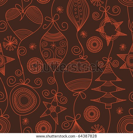 Cute Christmas seamless background - stock vector