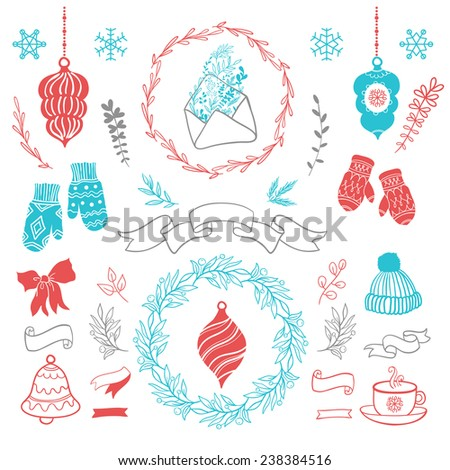 Cute Christmas set. Set of christmas ornaments and decorative elements, vintage ribbon, labels, frames, badge, stickers.Christmas wreath. Socks for gifts and warm gloves. - stock vector