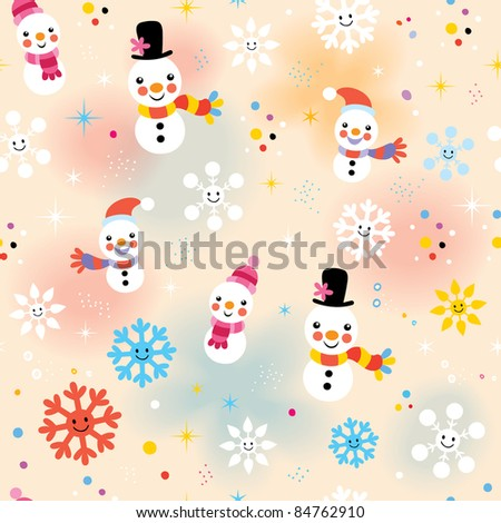 cute Christmas snowman pattern - stock vector