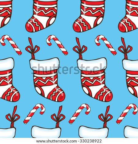 Cute Christmas Socks seamless image (pattern)