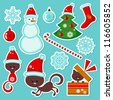 Cute Christmas stickers set - stock vector