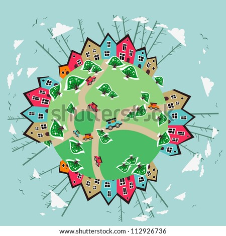 Cute city of the Earth planet - stock vector