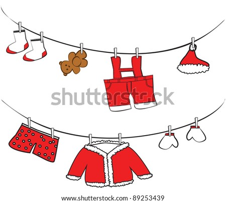 Cute clothes hanging vector - stock vector