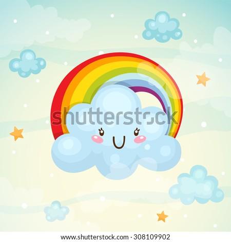 Cute cloud and rainbow, children's illustration, vector. - stock vector