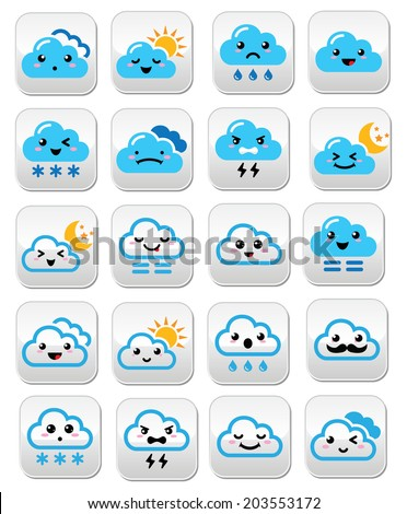 Cute cloud - Kawaii, Manga buttons with different expressions - happy, sad, angry  - stock vector