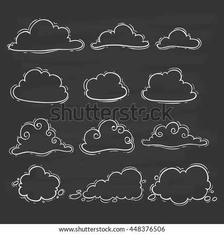 Cute clouds collection using doodle art on blackboard background - stock vector
