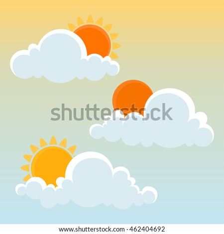 Cute Clouds with Sun. Vector illustration.