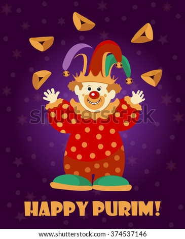 Cute Clown juggling with cookies. Purim Holiday greeting card / poster template. Greeting card design for Jewish Spring Carnival vector template. Vector illustration. Sample text. Layered, editable - stock vector