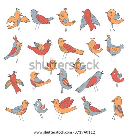Cute collection of funny birds - stock vector