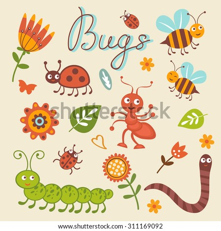Cute collection of happy little bugs. Vector illustration - stock vector