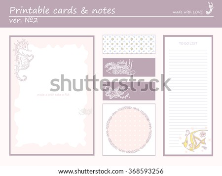 Cute collection of romantic printable cards, notes, stickers,  with funny cartoon seahorse and marine design. Set of purple color paper  - stock vector