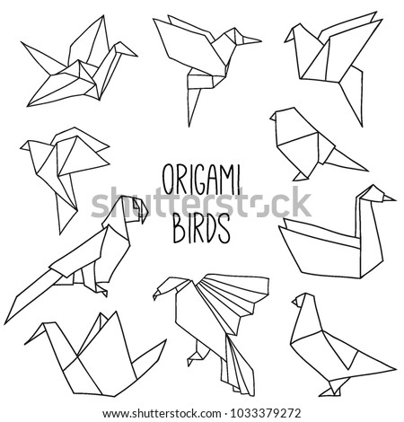 Cute Collection With 10 Origami Birds In A Outline Vector Set Of Line Geometric
